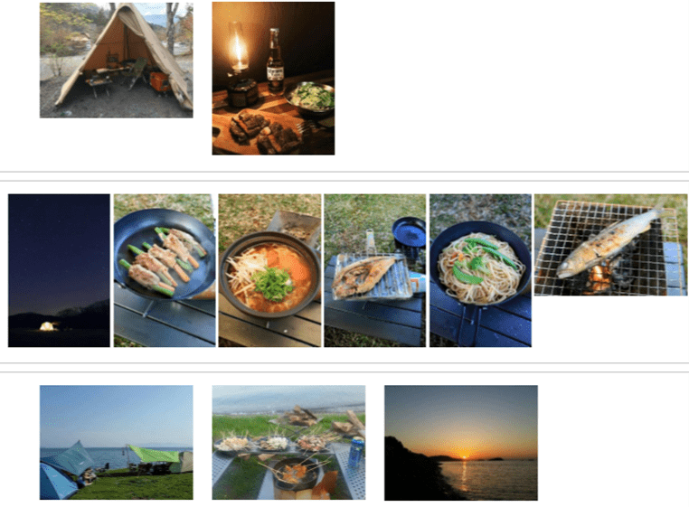 キャンプでの料理写真